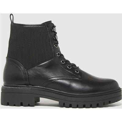 Schuh Black Andorra Elastic Detail Lace Up Boots