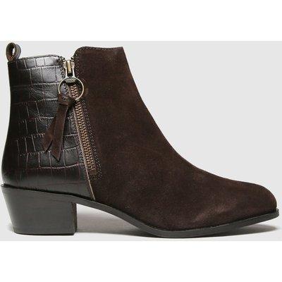 Schuh Brown Cara Suede Side Zip Boot Boots