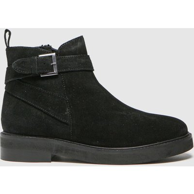 Schuh Black Angelica Suede Buckle Boots