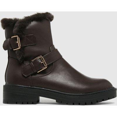 Schuh Brown Aubrey Fur Biker Boots