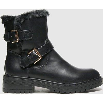 Schuh Black Aubrey Fur Biker Boots