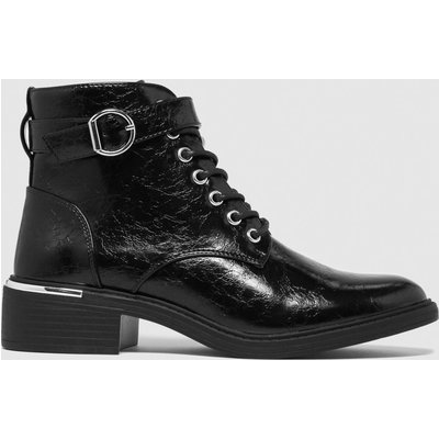 Schuh Black Cora Patent Metal Lace Up Boots