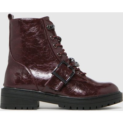 Schuh Burgundy Aspen Chain Lace Up Boots