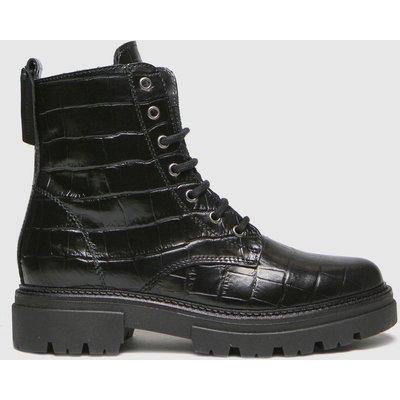 Schuh Black Arabella Croc Leather Lace Up Boots