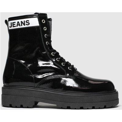 Tommy Hilfiger Black Patent Leather Flatform Boots