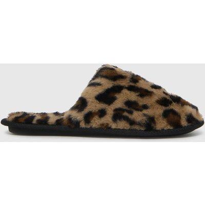 Schuh Beige & Brown Holly Faux Fur Mule Slippers