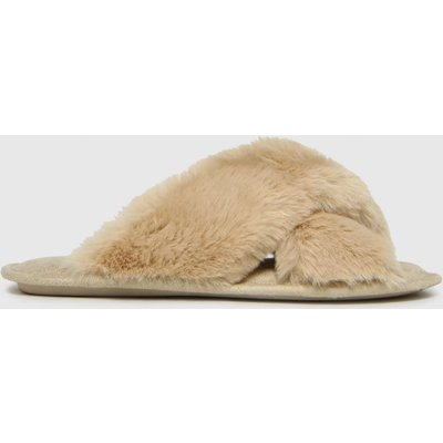 Schuh Beige Haiden Faux Fur Cross Strap Slippers