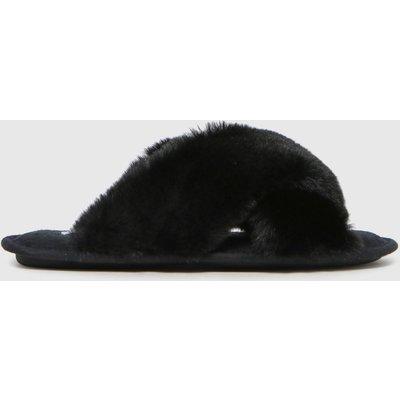 Schuh Black Haiden Faux Fur Cross Strap Slippers