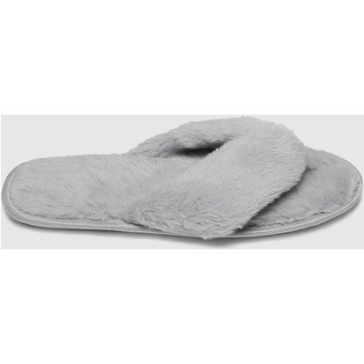 Schuh Grey Hope Faux Fur Slippers