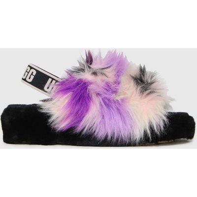 UGG Black & Purple Fluff Yeah Tie Dye Slippers