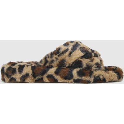 Schuh Beige & Brown Helen Faux Fur Cross Vamp Slippers