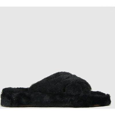 Schuh Black Helen Faux Fur Cross Vamp Slippers