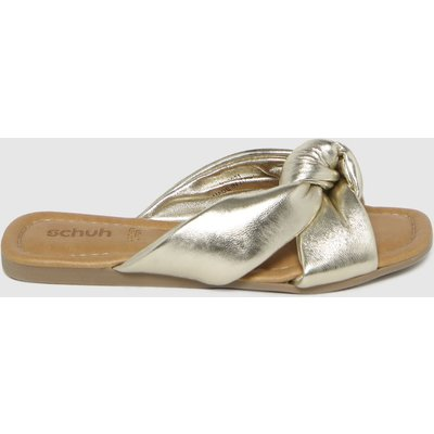 Schuh Gold Tiara Leather Knot Sandals