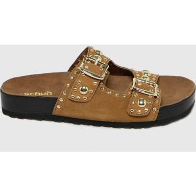 Schuh Tan Tatyana Suede Studded Footbed Sandals