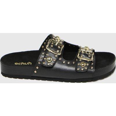 Schuh Black Tatyana Leather Studded Sandals