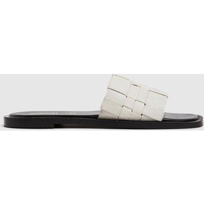 Schuh White Tease Woven Detail Mule Sandals