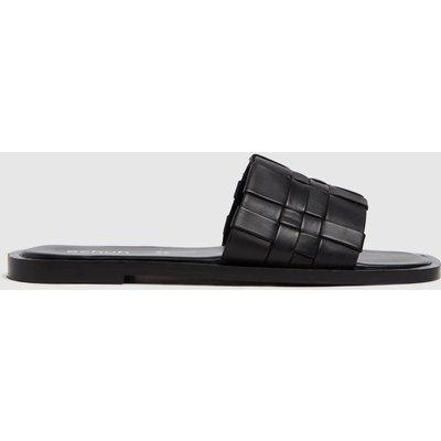 Schuh Black Tease Woven Detail Mule Sandals