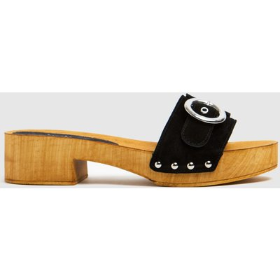 Schuh Black Vanessa Suede Clog Sandals