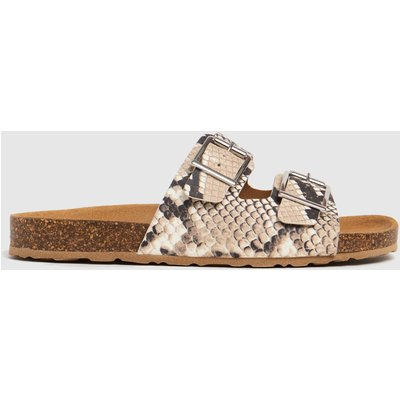 Schuh Brown & White Trust Leather Double Buck Sandals