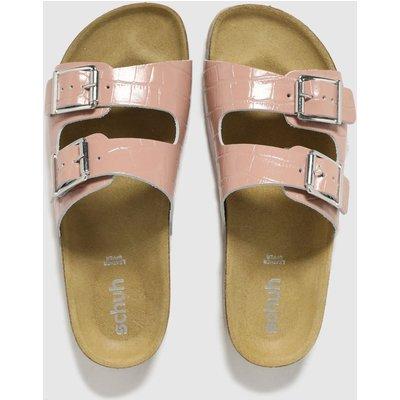Schuh Pale Pink Trust Croc Leather Double Buck Sandals