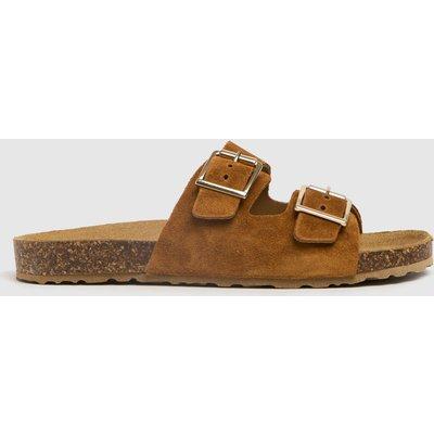 Schuh Tan Trust Suede Double Buckle Sandals