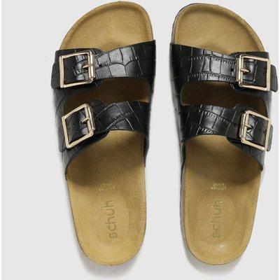 Schuh Black Trust Croc Leather Double Buck Sandals