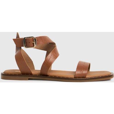 Schuh Tan Toni Leather Croc Ankle Strap Sandals