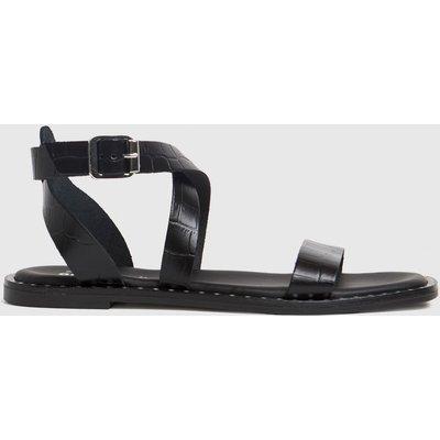 Schuh Black Toni Leather Croc Ankle Strap Sandals