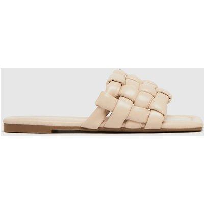 Schuh White Tilde Weave Square Toe Sandals