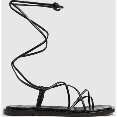 Schuh Black Tamsin Leather Tie Up Sandals