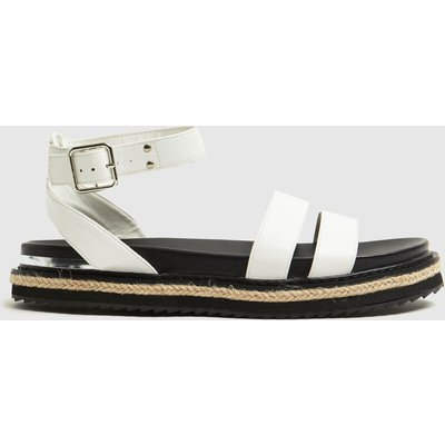 Schuh White Teal Buckle Sandals