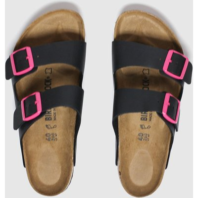 BIRKENSTOCK Black & Pink Birk Arizona Sandals