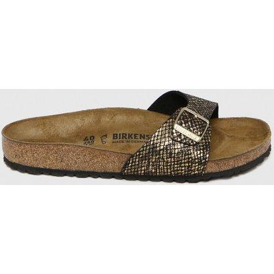 BIRKENSTOCK Black & Gold Madrid Shiny Python Sandals