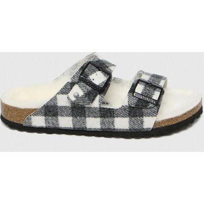 BIRKENSTOCK Black & White Arizona Rivet Shearling Sandals