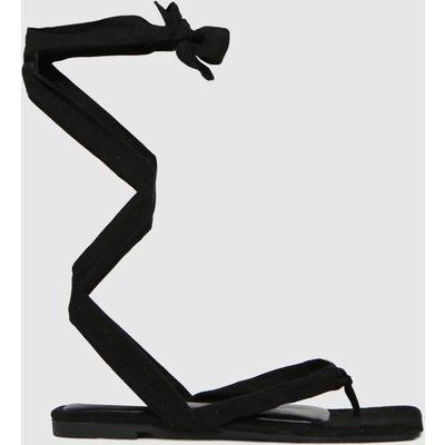 Schuh Black Tazia Square Toe Tie Sandal Flat Shoes