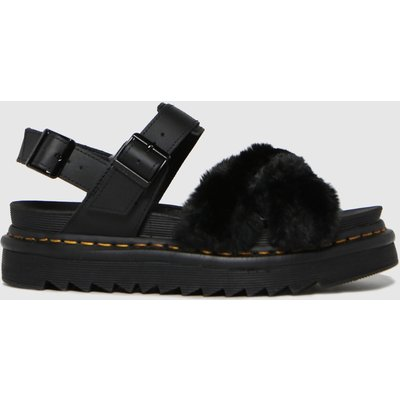 Dr Martens Black Voss Ii Fluffy Sandals