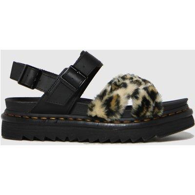 Dr Martens Black & Brown Voss Ii Fluffy Sandals