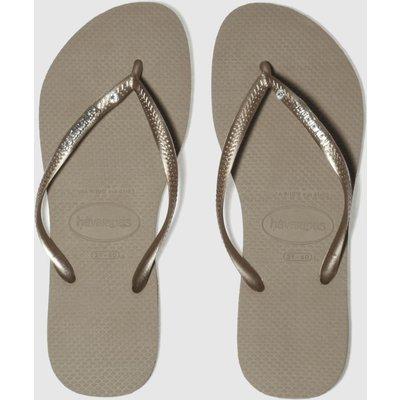Havaianas Gold Slim Metal Logo Sandals