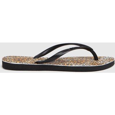 Havaianas Brown & Black Slim Leopard Sandals