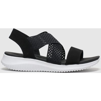 SKECHERS Black & White Ultra Flex Neon Star Sandals