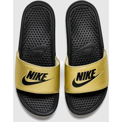 Nike Gold Benassi Slide Sandals