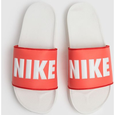 Nike White & Orange Off Court Sandals