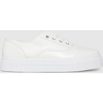 Schuh White Miley Pu Lace Up Trainers