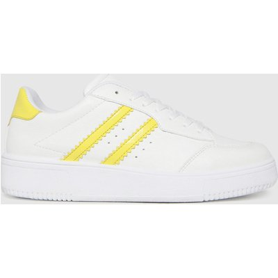 Schuh White & Yellow Macy Lace Up Trainers