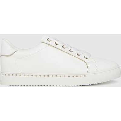 Schuh White & Gold Mika Studded Lace Up Trainers