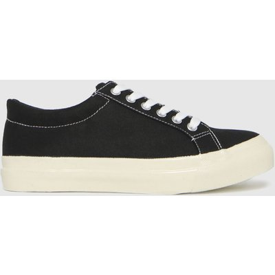 Schuh Black Maisie Canvas Lace Up Trainers