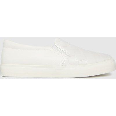 Schuh White Malin Weave Slip On Trainers