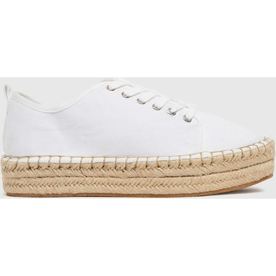Schuh White Mila Canvas Espadrille Lace Up Trainers