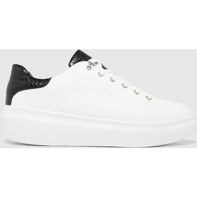 Schuh White & Black Misty Hardware Lace Up Trainers