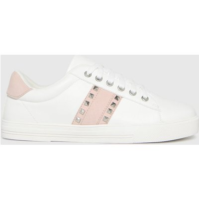 Schuh White & Pink Melissa Stud Detail Trainers